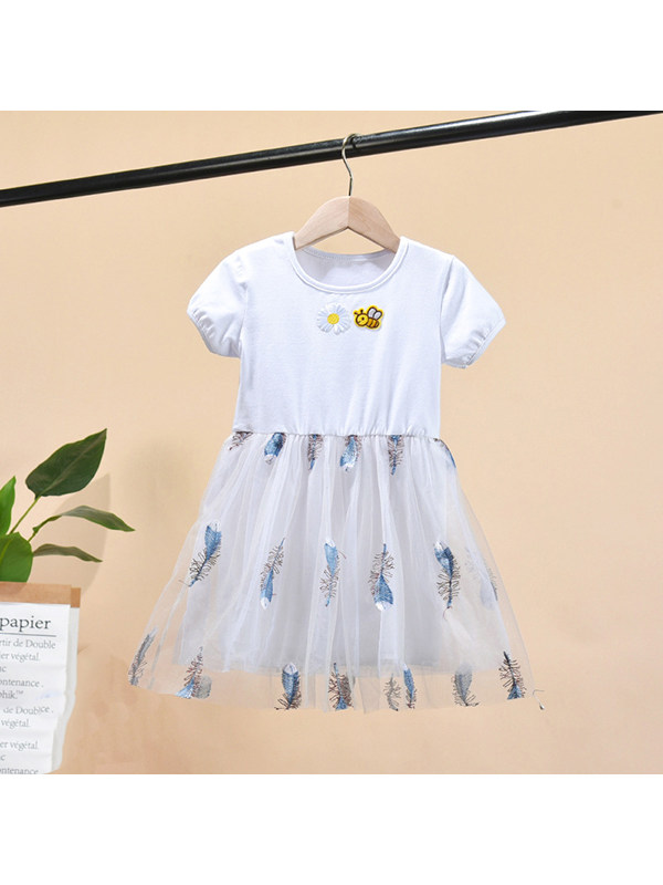【12M-7Y】Girls' Round Neck Short Sleeve Feather Embroidered Mesh Dress