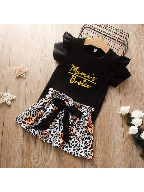 【18M-7Y】Girls Solid Color Letter Print Short-sleeved Top with Leopard Print Skirt Suit