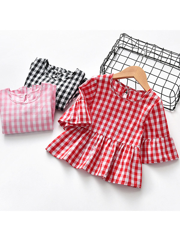 【12M-7Y】Girls Cotton Plaid Flared Sleeve Top