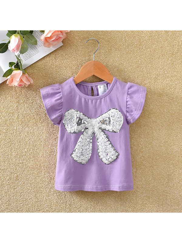 【12M-7Y】Girls Round Neck Flying Sleeve Bow T-shirt