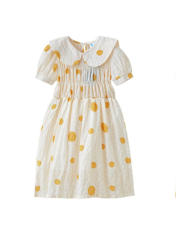 【3Y-13Y】Girls Chiffon Polka Dot Print Doll Collar Dress