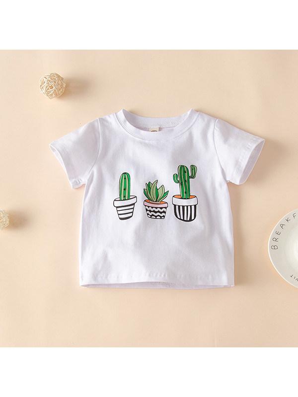 【12M-5Y】Girls Cute Cactus Print Short Sleeve T-shirt