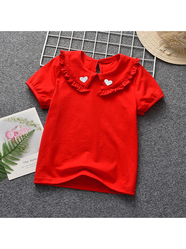 【6M-7Y】Girls Lapel Embroidered Love Short Sleeve Top