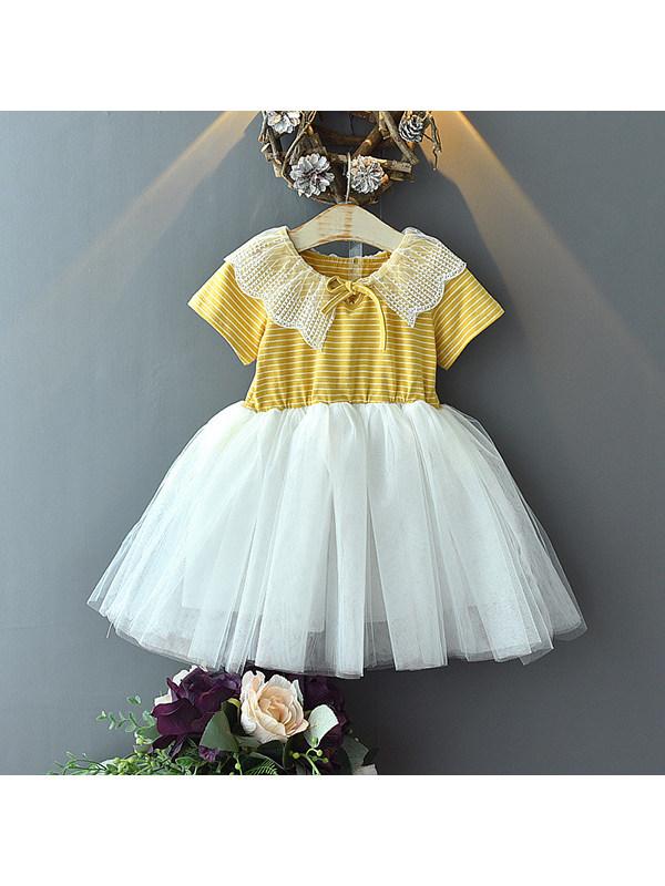 【18M-7Y】Girls Lace Collar Striped Mesh Dress