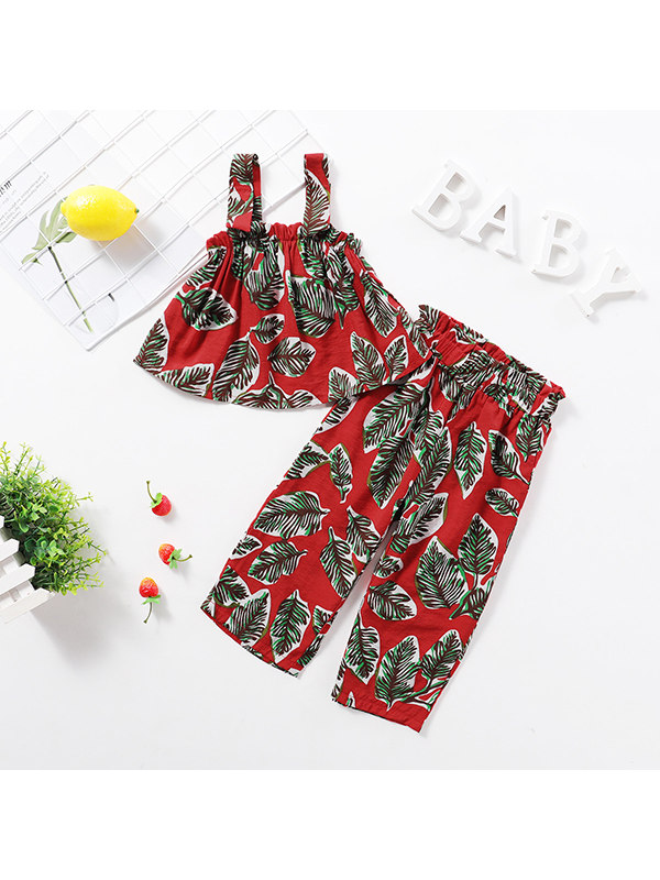 【18M-7Y】Girls Floral Sleeveless Sling T-shirt Trousers Set