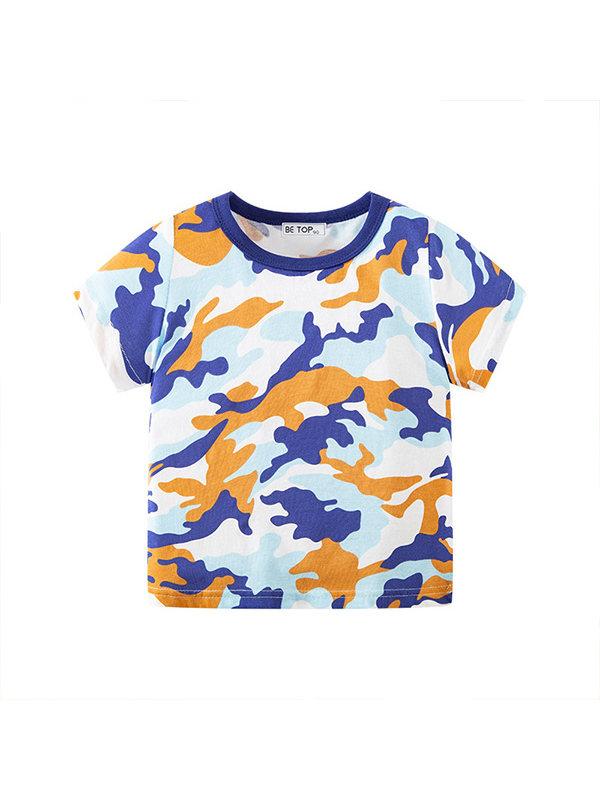 【18M-9Y】Boys Camouflage Short Sleeve T-shirt