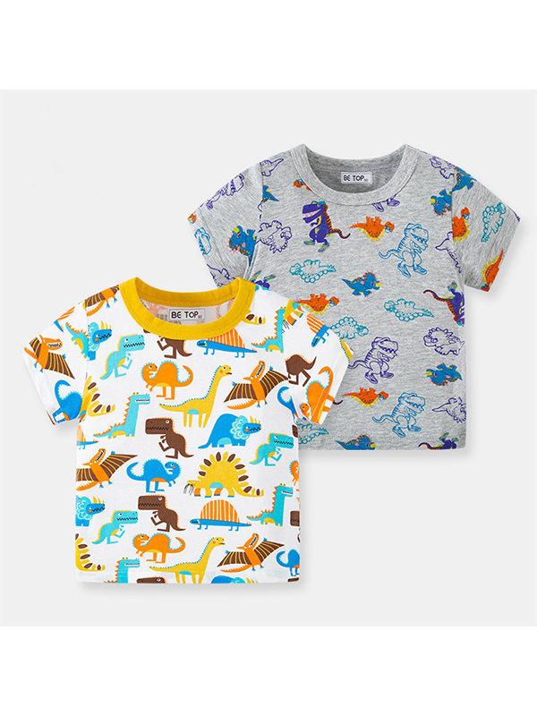 【18M-7Y】Boys Dinosaur Print Short Sleeve T-Shirt
