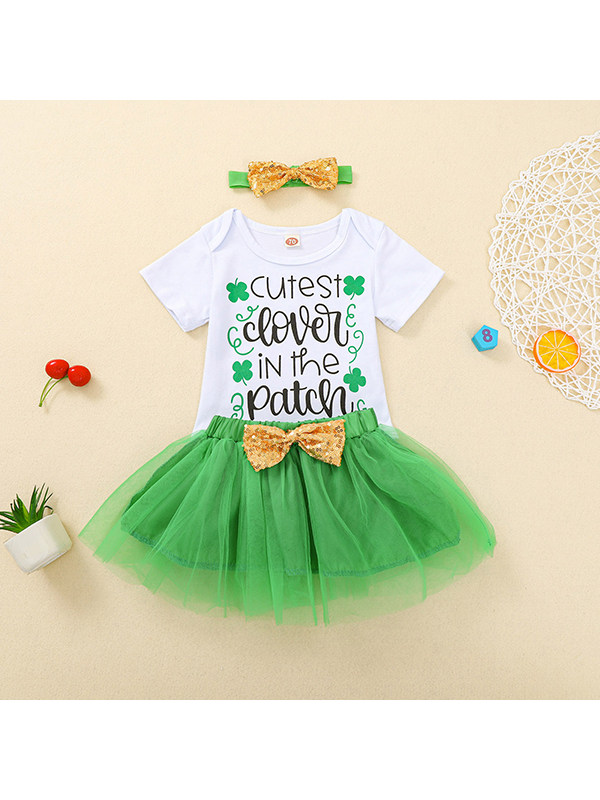 【6M-3Y】Baby Girl Letter Print Short-sleeved One-piece Suit With Green Mesh Short Skirt And Hair Tie Set
