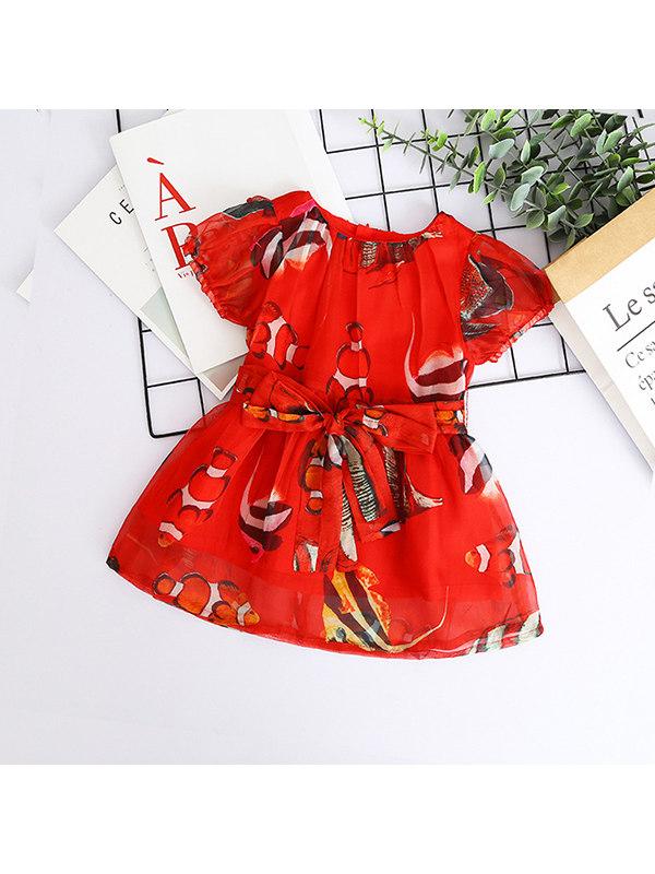 【18M-9Y】Girls Fish Print Bow Chiffon Dress