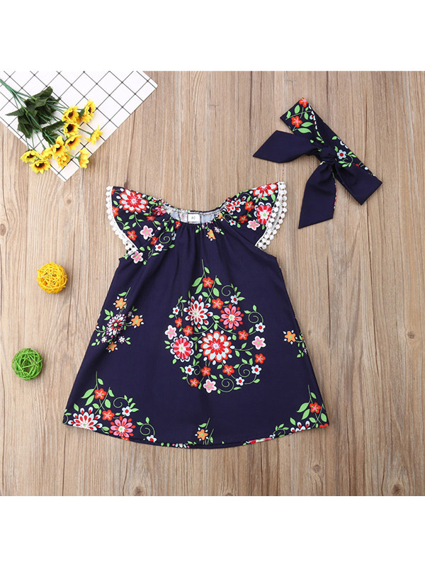 【12M-5Y】Girls Lace Flying Sleeve Floral Cute Dress