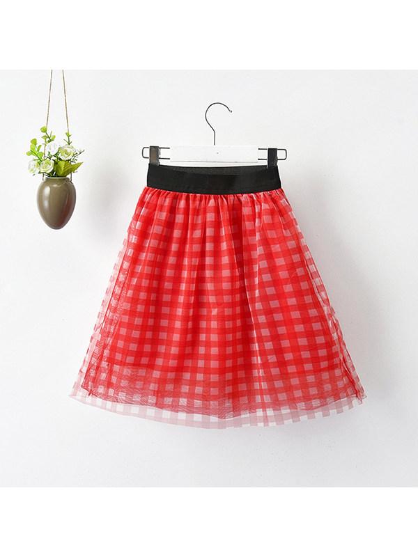 【18M-11Y】Girls Plaid Mesh Skirt
