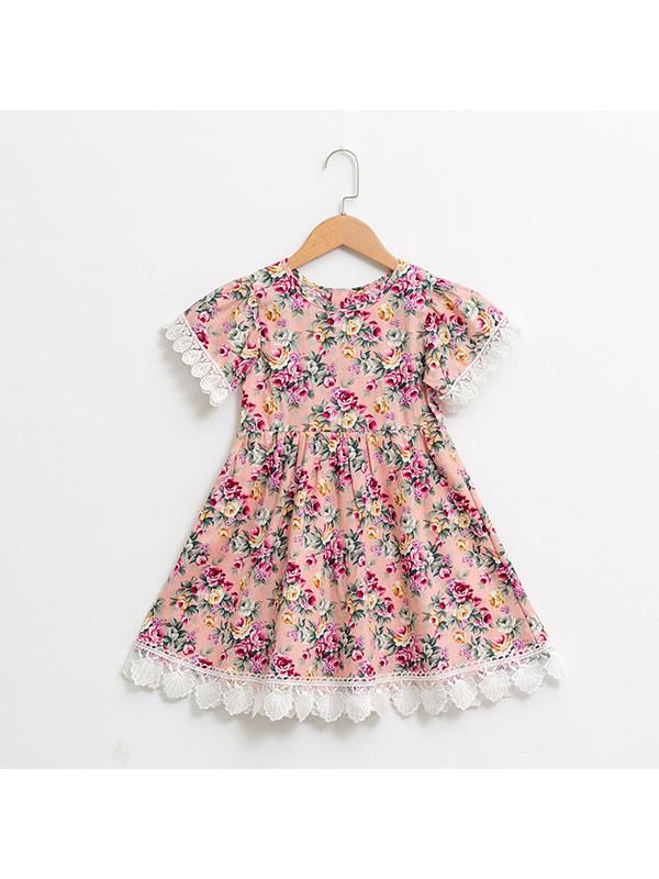 【18M-9Y】Girls' Round Neck Floral Lace Trim Cotton Dress