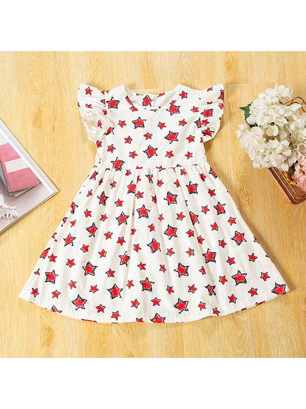 【18M-9Y】Girls Round Neck Flying Sleeve Star Print Dress