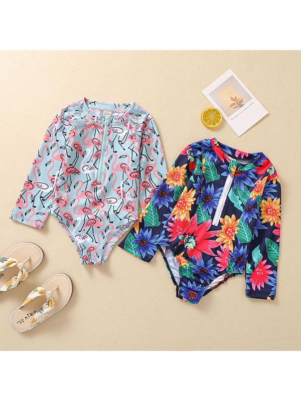 【12M-5Y】Girls Round Neck Flower Print Long-sleeved One-piece Swimsuit