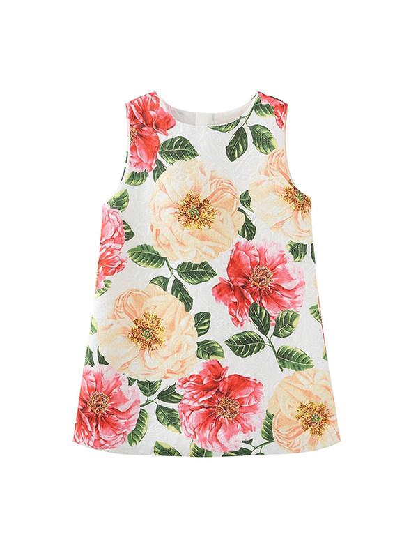 【18M-9Y】Girls' Round Neck Sleeveless Floral Print Tank Top Dress