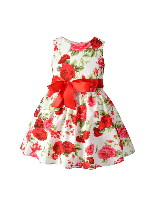 【12M-5Y】Girls' Flower Print Sleeveless Bowknot Dress