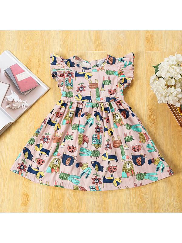 【18M-9Y】Girls Round Neck Cartoon Print Retro Flying Sleeve Dress