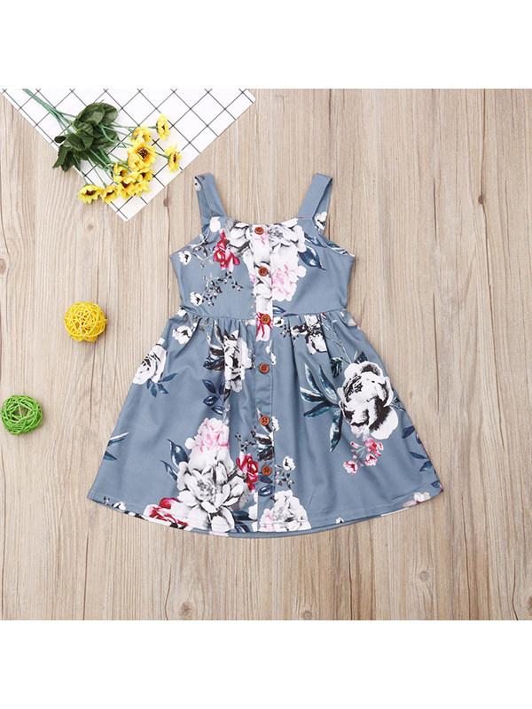 【12M-4Y】Girls Sleeveless Sling Simple Floral Dress