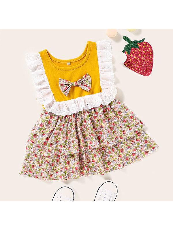 【3M-3Y】Girls Sleeveless Ruffled Stitching Dress