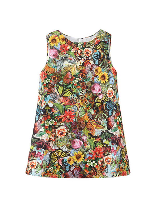 【18M-9Y】Girls Full Butterfly Print Sleeveless Dress