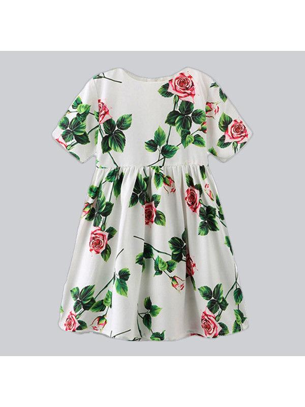 【18M-9Y】Girls Little Rose Print Dress