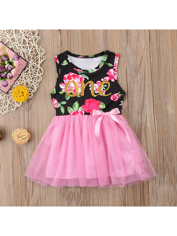 【12M-4Y】Baby Girl Floral Letters Printed Sleeveless Vest Stitching Mesh Dress