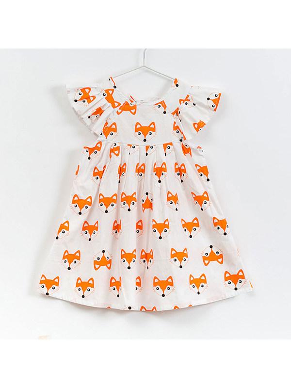 【18M-9Y】Girls' Round Neck Cotton Fox Print Dress