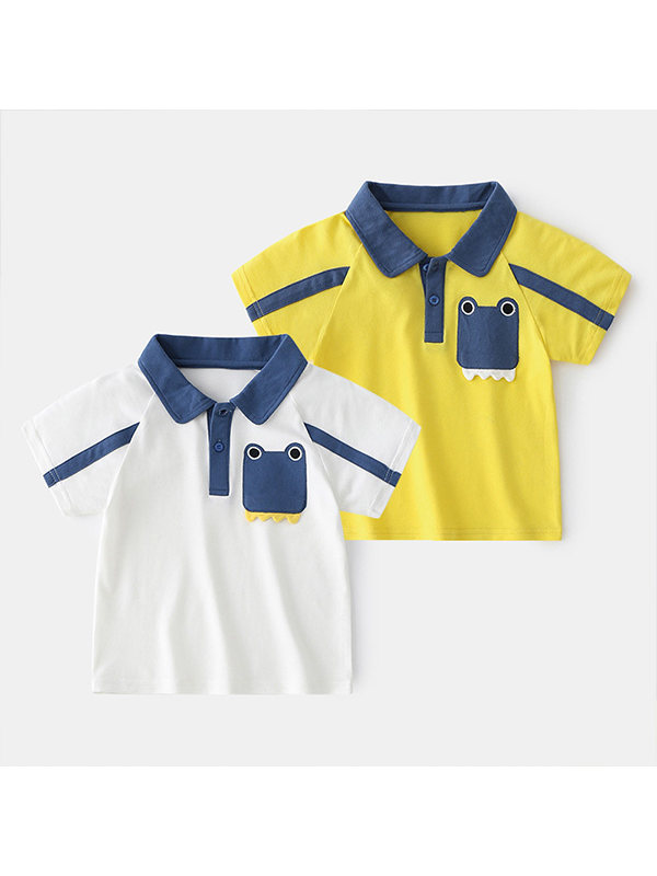 【18M-7Y】Boys Contrast Stitching Short-sleeved Polo Shirt