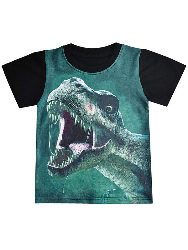 【3Y-9Y】Boys Contrast Color Stitching Dinosaur Print Short Sleeve T-shirt