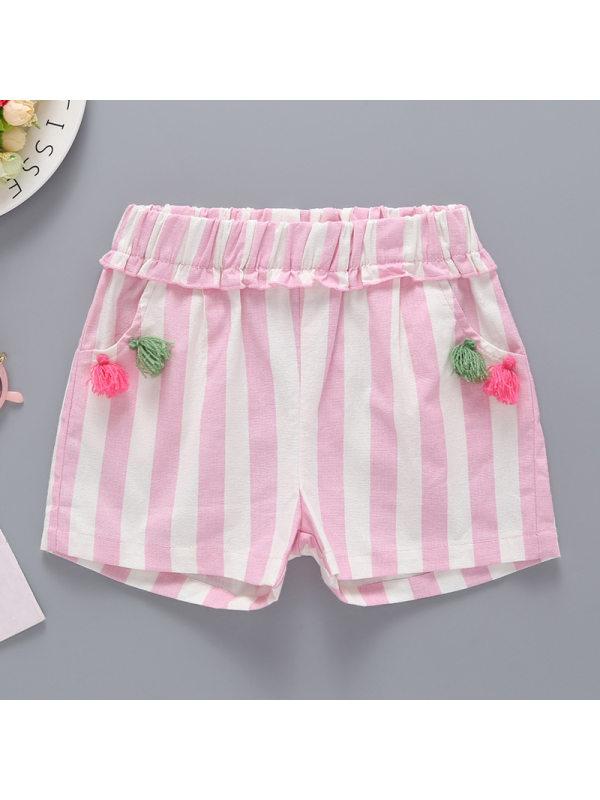 【2Y-9Y】Girls Sweet Cute Striped Lace Fringed Shorts