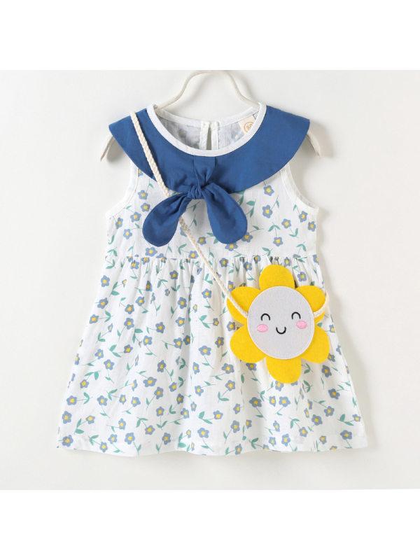 【6M-3Y】Girls Fresh Sweet Floral Print Sleeveless Dress