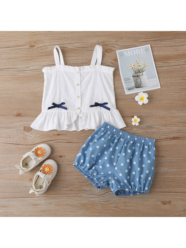 【18M-7Y】Girls Fresh Sweet Camisole Top Polka Dot Shorts Suit