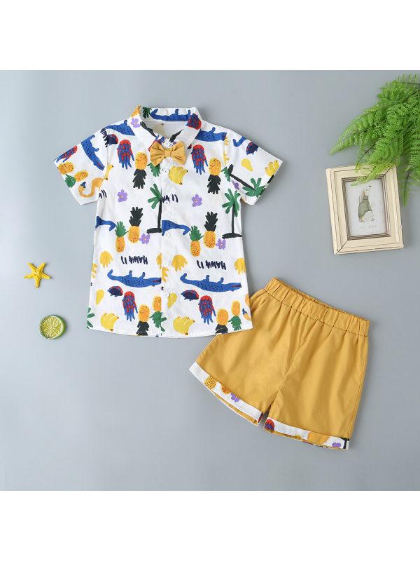 【18M-7Y】Boys Fashion Casual Pineapple Print Short Sleeve Shorts Set