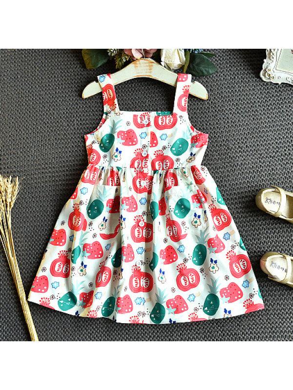 【18M-7Y】Sweet Fruit Print Sling Dress