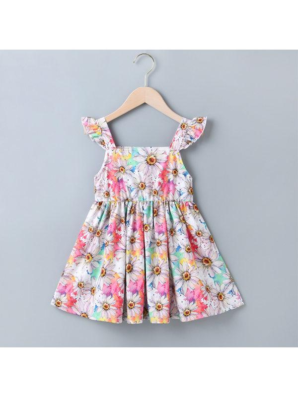 【18M-7Y】Girls Fresh Sweet Flowers Full-print Camisole Dress