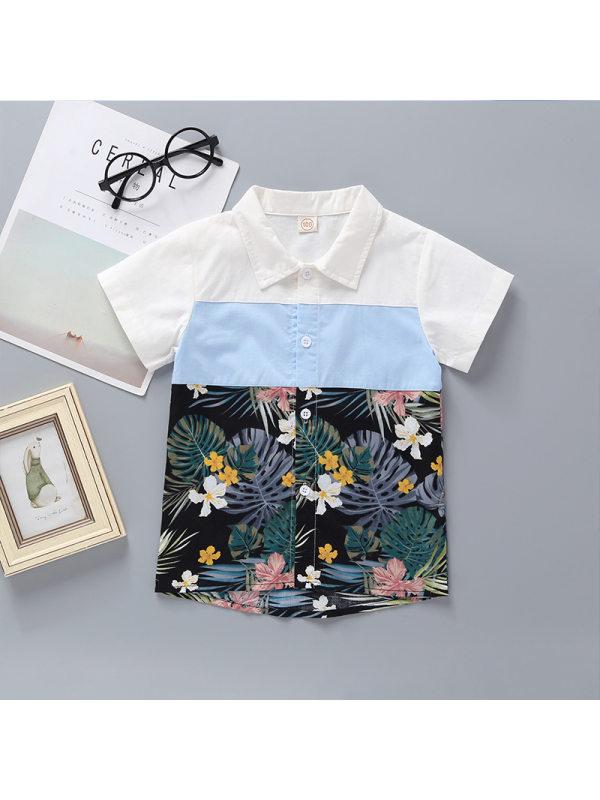 【12M-5Y】Boys Flower And Leaf Print Short-sleeved Shirt
