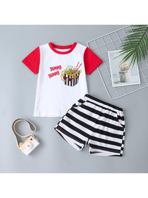 【18M-7Y】Boys French Fries Print Short Sleeve Top Striped Shorts Set