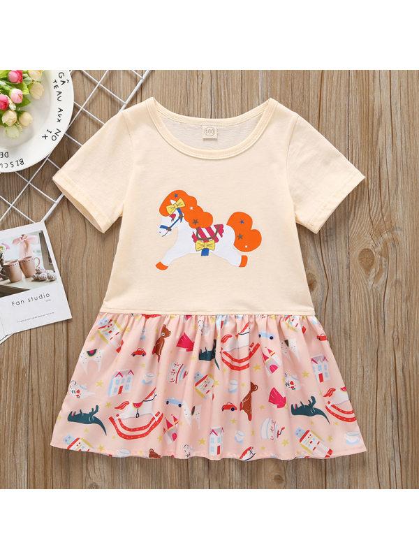 【12M-5Y】Girls Casual Cartoon Pony Stitching Short-sleeved Dress