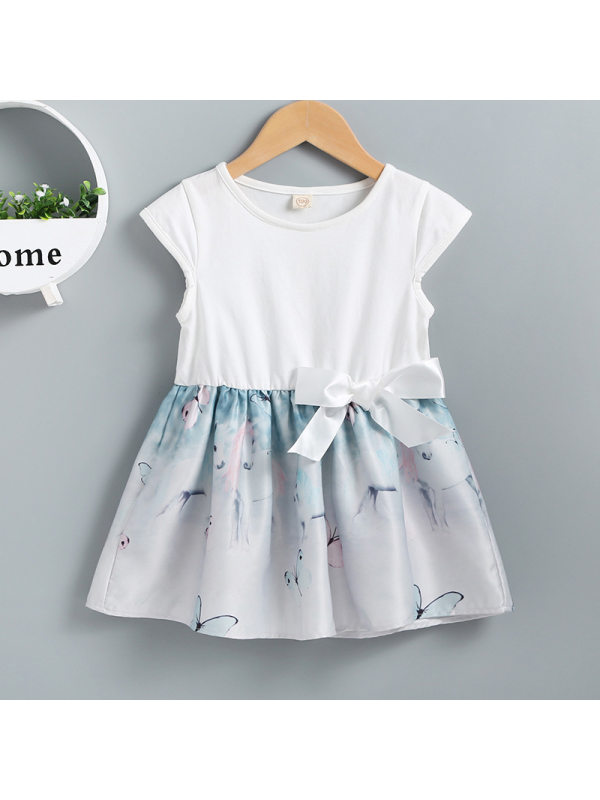 【12M-5Y】Girls Casual Stitching Butterfly Print Short-sleeved Dress