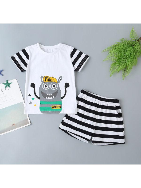 【18M-7Y】Boys Cartoon Print Short-sleeved Top Striped Shorts Suit