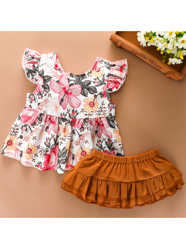 【6M-3Y】Cute Floral Short-sleeved T-shirt and Shorts Set