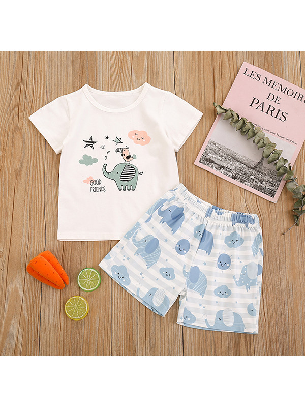 【6M-3Y】Baby Boy Cute Cartoon Short Sleeve T-shirt With Blue Shorts Suit