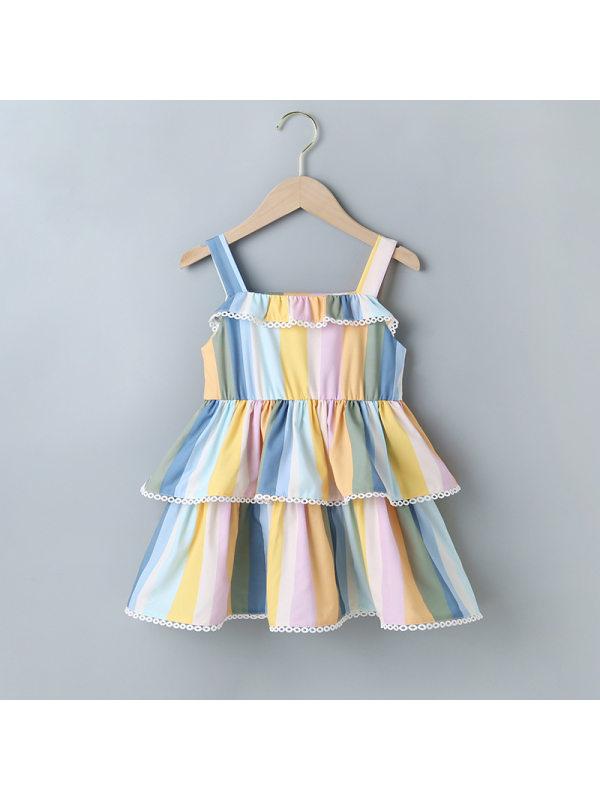 【18M-7Y】Girls Sweet Fresh Vertical Stripes Camisole Cake Dress