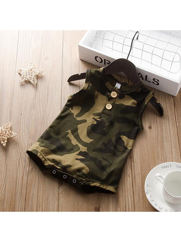 【6M-3Y】Boys Crew Neck Sleeveless Camouflage Vest Jumpsuit