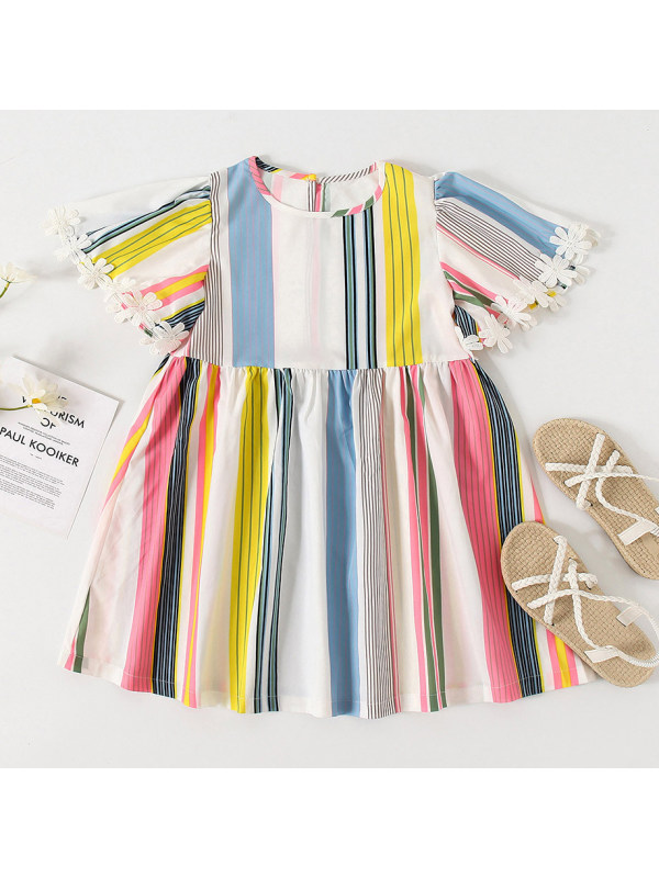【18M-7Y】Cute Colorful Striped Round Neck Short Sleeve Dress