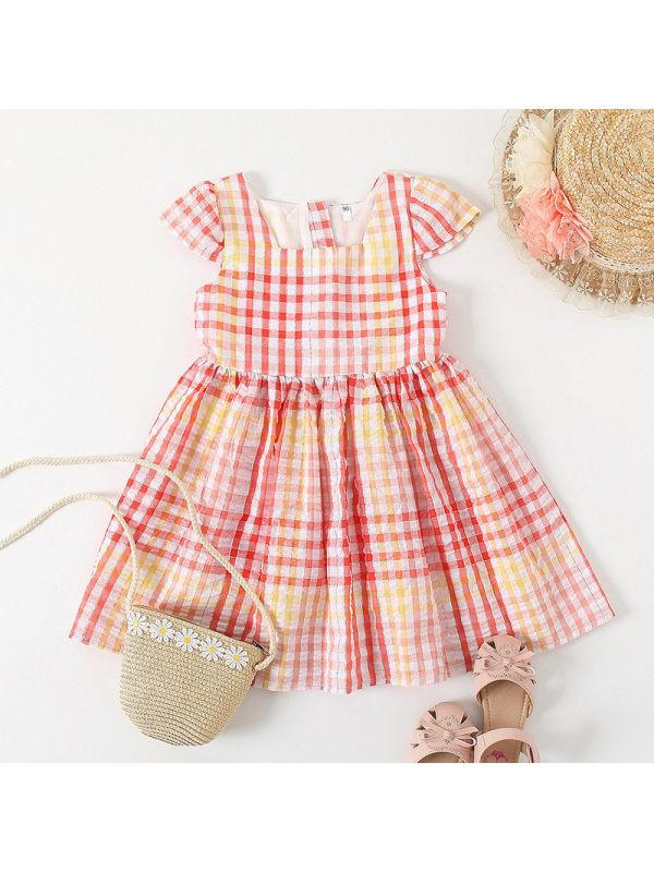 【18M-7Y】Sweet Pink Plaid Short Sleeve Dress