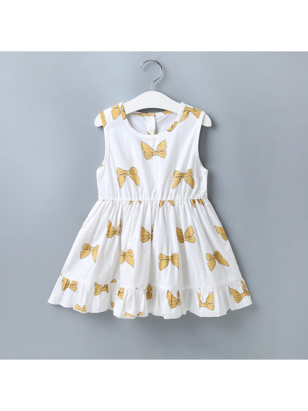 【18M-7Y】Girls Fashion Casual Bow Print Sleeveless Dress