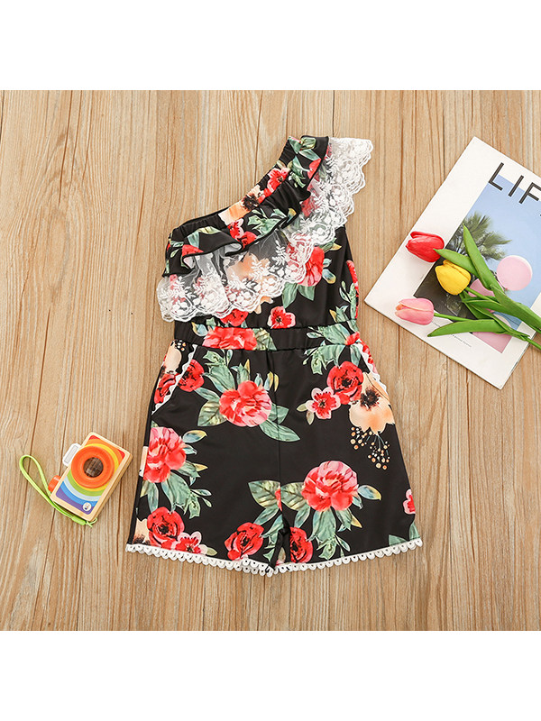 【18M-7Y】Girls' Oblique Shoulder Lace Print Jumpsuit