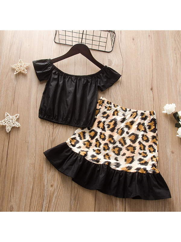 【18M-7Y】Girls' Solid Color Frill One-shoulder Short Top With Leopard Print Skirt Suit