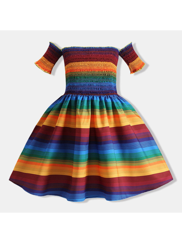 【18M-7Y】Colorful Striped Off The Shoulder Short Sleeved Dress